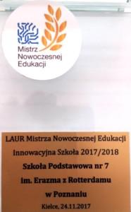 Laur mistrza nowoczesnej edukacji 2017/2018.